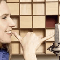 Example of staying a five finger distance away from a podcasting microphone