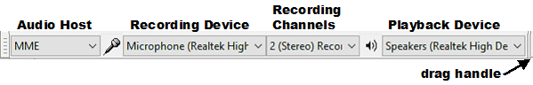 Audacity recording settings to set the recording device and playback device