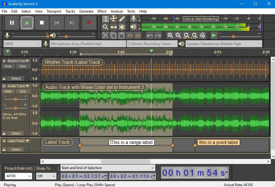 A screenshot of an audio editing software with a podcast loaded up.