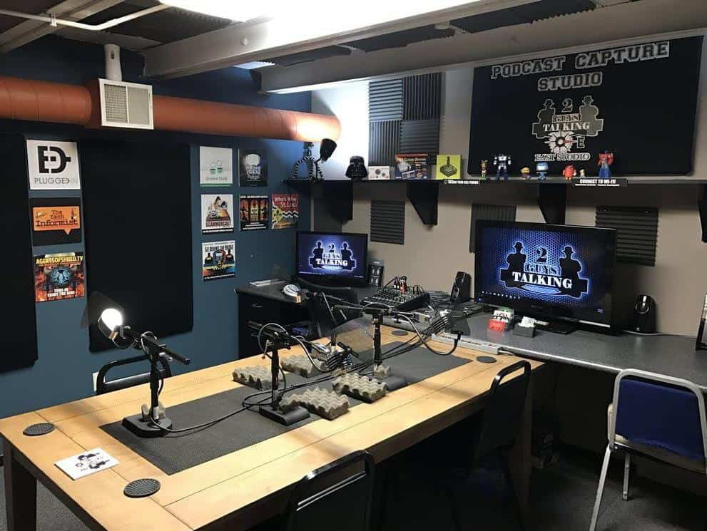 Podcast room with space for two hosts.
